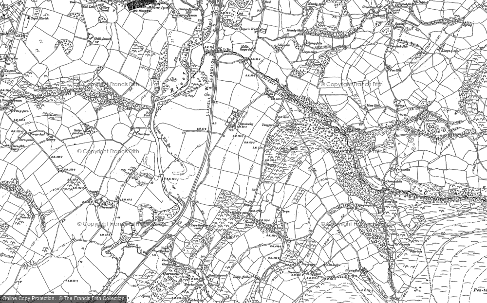 Old Map of Historic Map covering Ynys-ger-gathan in 1905