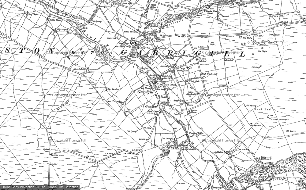 Old Map of Historic Map covering Ash Gill in 1898