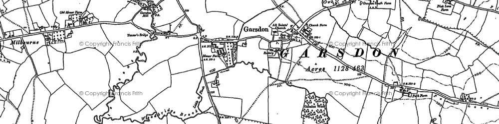 Old map of Garsdon in 1898