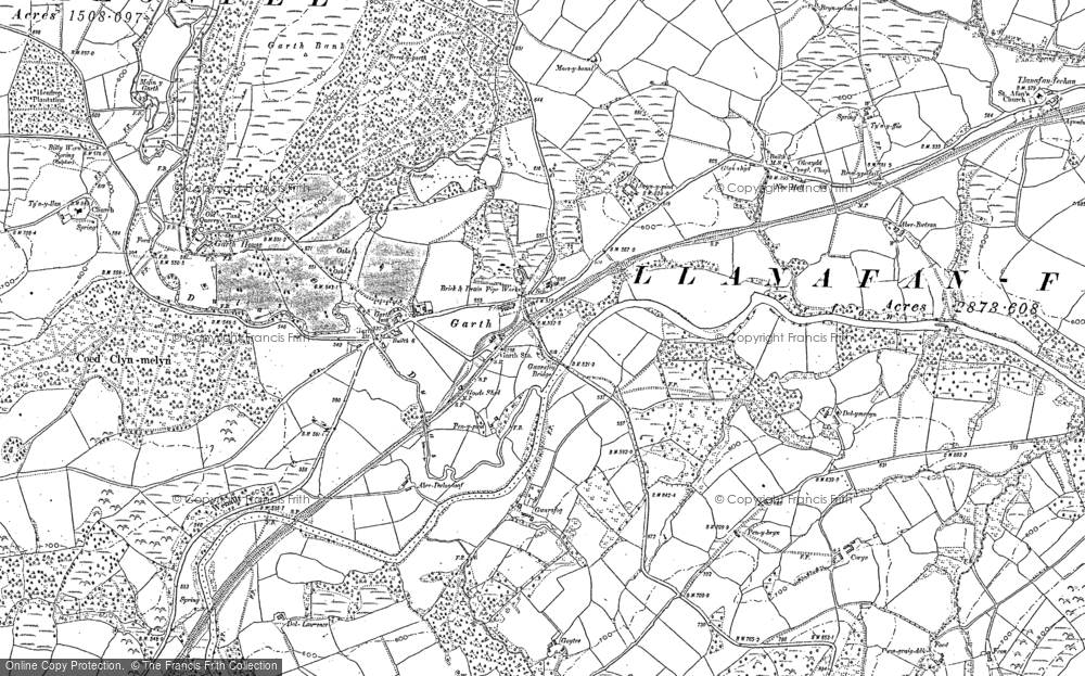 Old Map of Historic Map covering Banc y Cwm in 1887