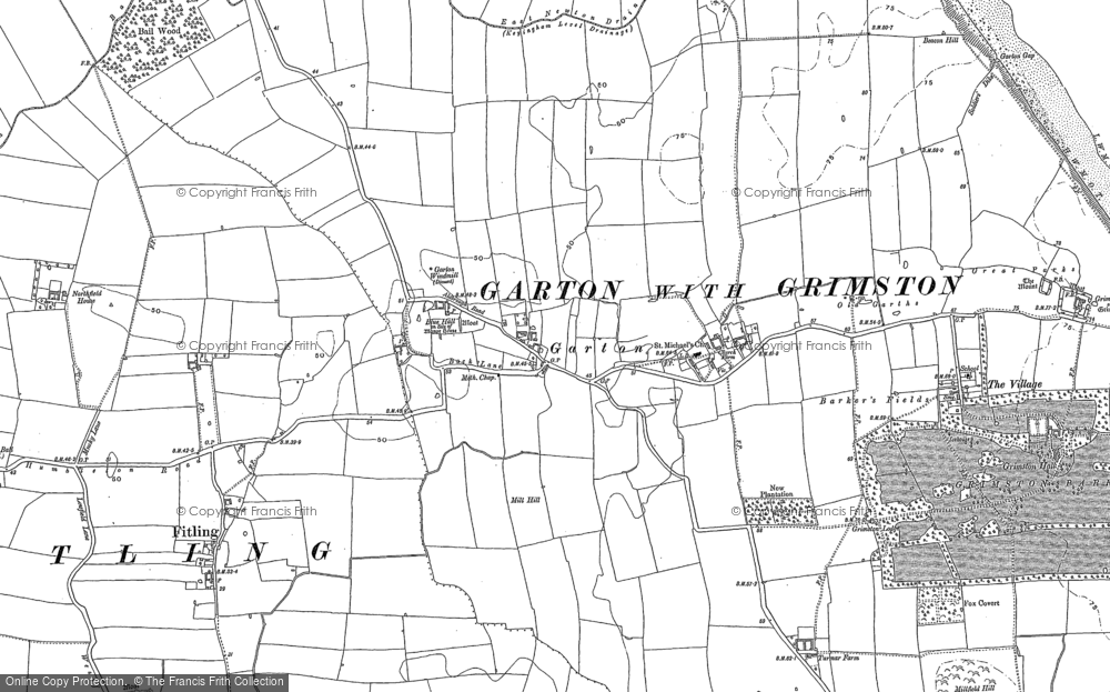 Old Map of Historic Map covering Bail Wood in 1908