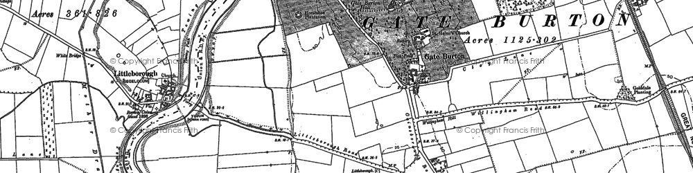 Old map of Gate Burton in 1885