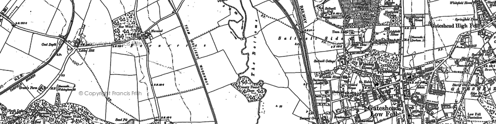 Old map of Gateshead in 1895