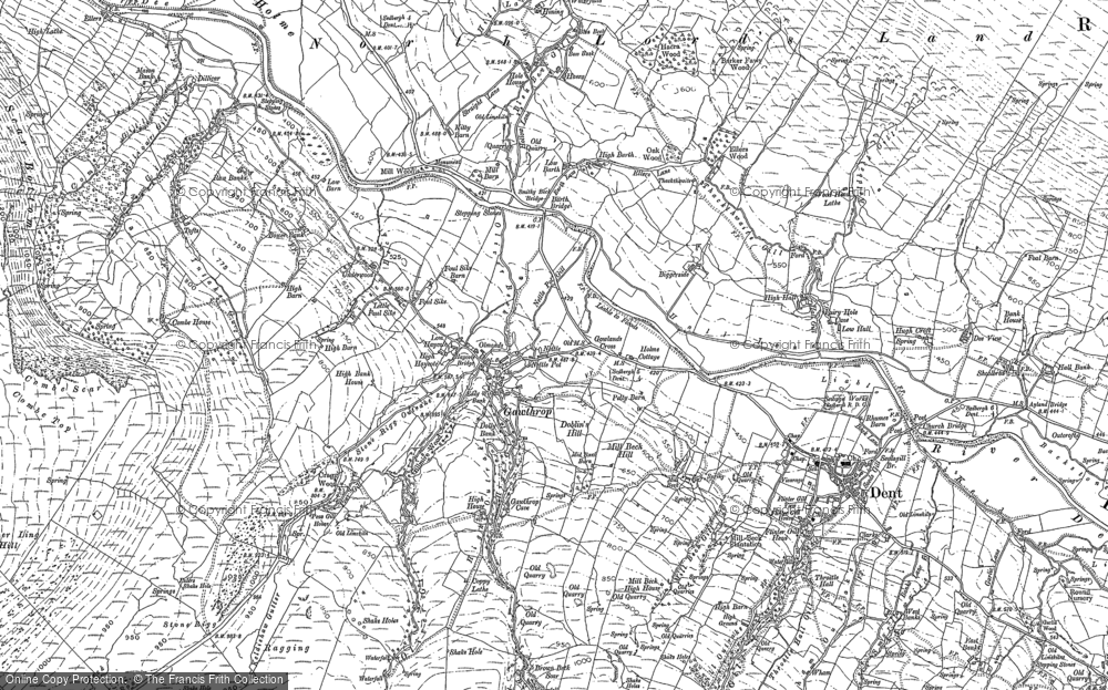 Old Map of Historic Map covering Wood Head Lathe in 1907