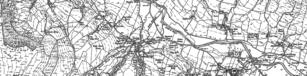 Old map of Wold End Moss in 1907