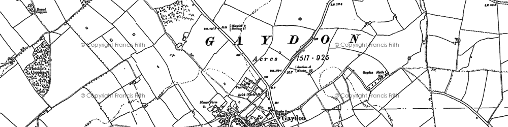 Old map of Gaydon in 1885