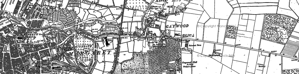 Old map of Gaywood in 1884
