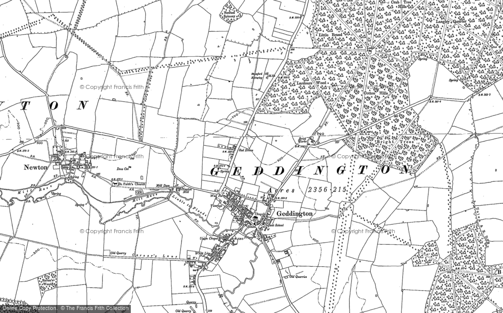 Old Map of Geddington, 1884 - 1885 in 1884