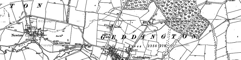 Old map of Geddington in 1884