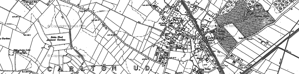 Old map of Gedling in 1883