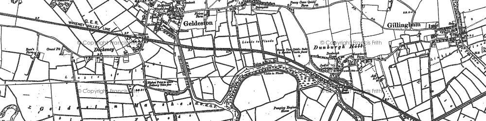 Old map of Barsham Marshes in 1903
