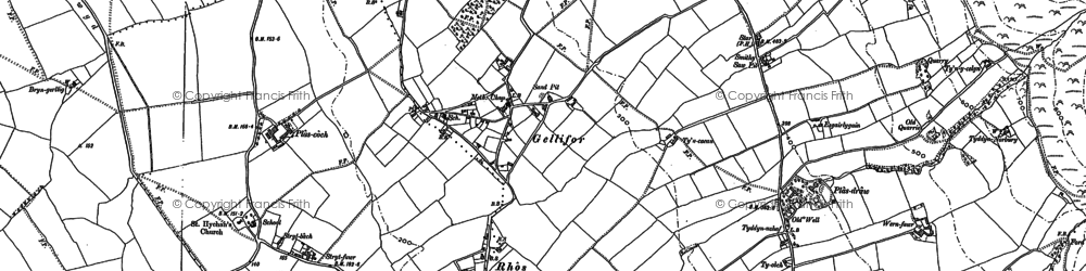 Old map of Gellifor in 1910