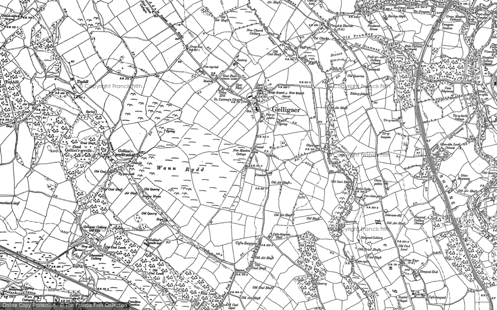 Old Map of Historic Map covering Tir-y-rhen in 1898