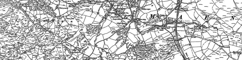 Old map of Gellilydan in 1887