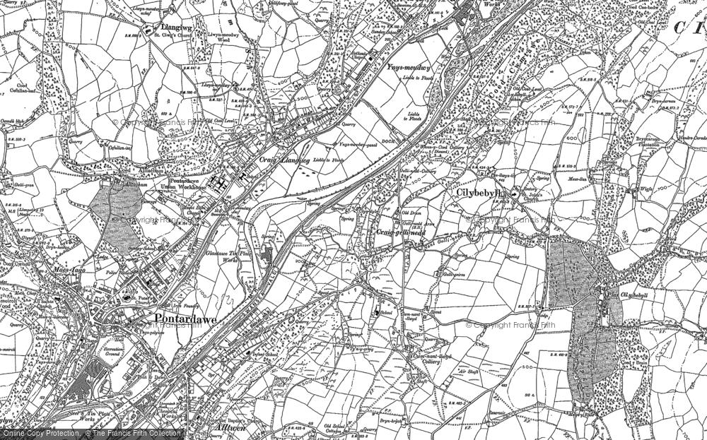 Old Map of Gellinudd, 1897 in 1897