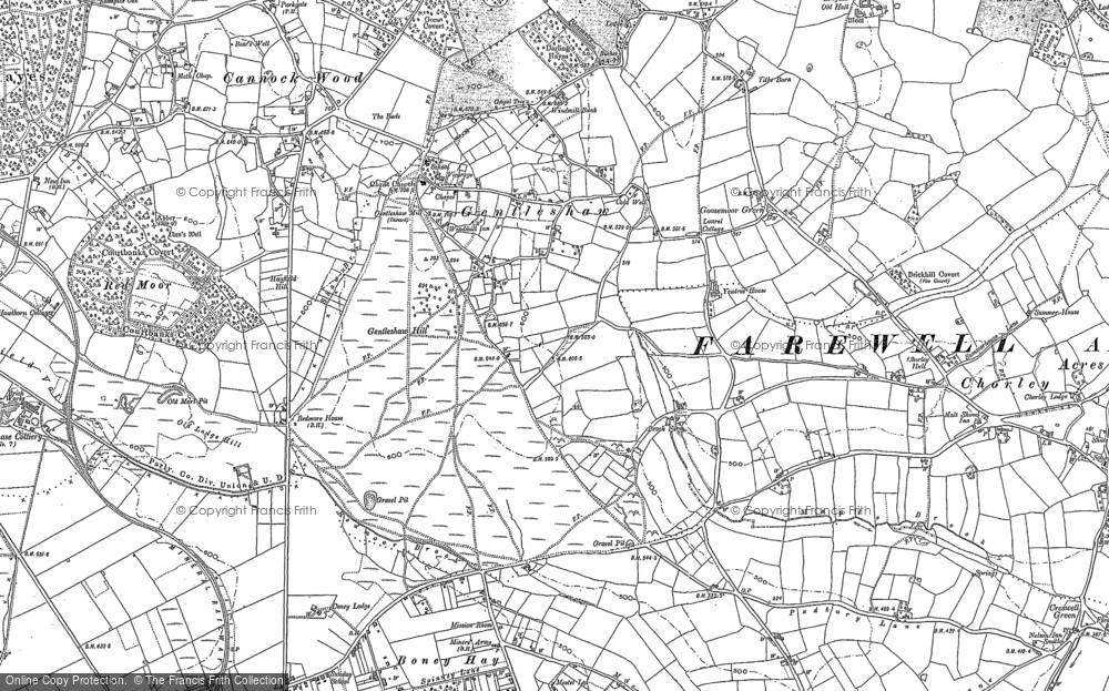Old Map of Gentleshaw, 1882 - 1883 in 1882