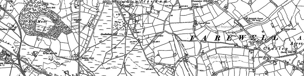 Old map of Gentleshaw in 1882