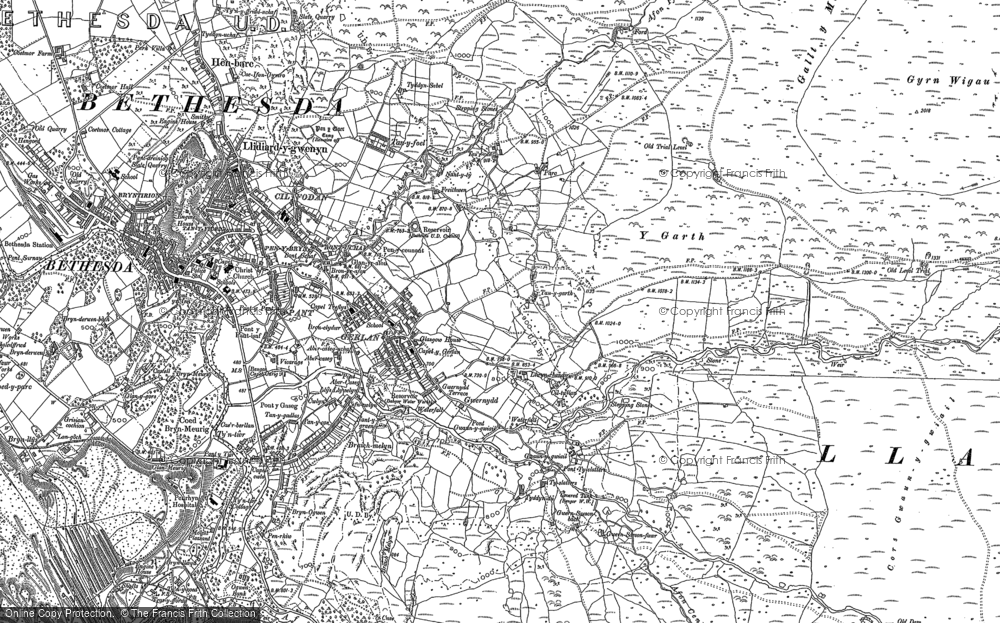 Old Map of Historic Map covering Afon Ffrydlas in 1888