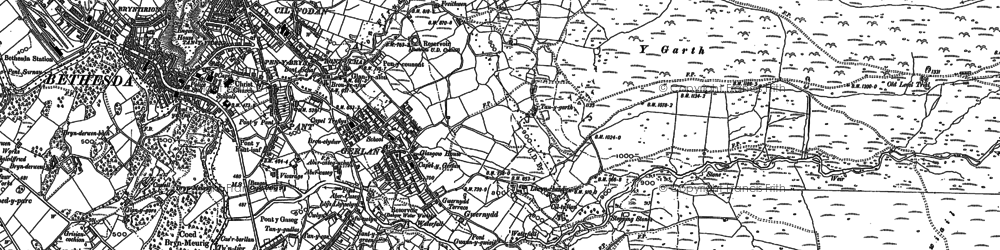 Old map of Afon Ffrydlas in 1888