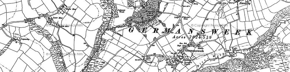 Old map of Westweek Barton in 1883