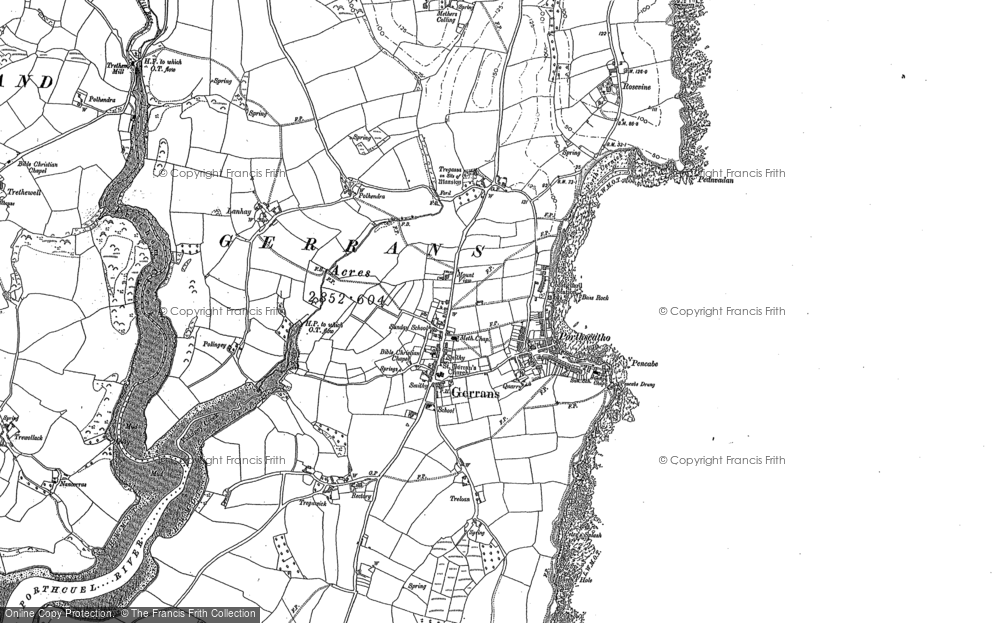 Old Map of Historic Map covering Lanhay in 1879