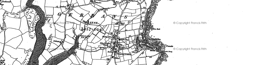 Old map of Gerrans in 1879