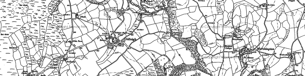 Old map of Gidleigh in 1884