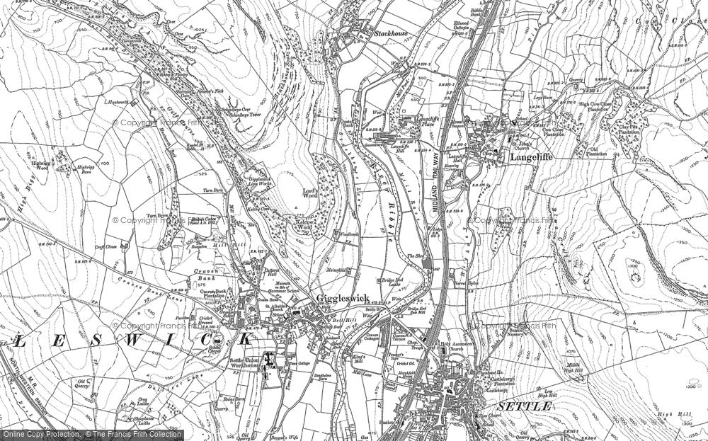 Old Map of Giggleswick, 1907 in 1907