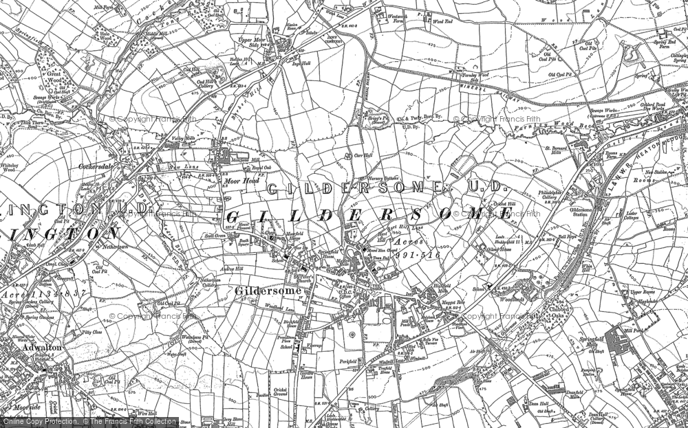 Old Map of Historic Map covering Adwalton in 1891