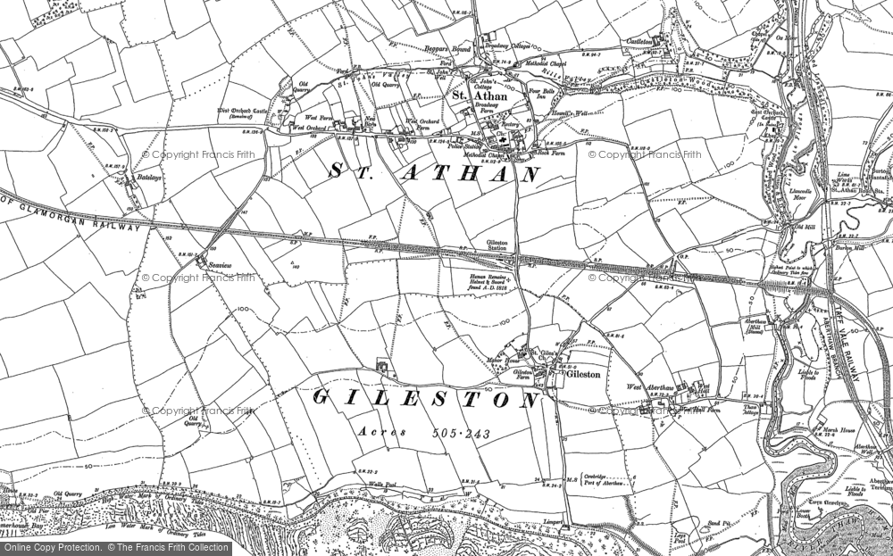 Old Map of Historic Map covering Beggars Pound in 1897