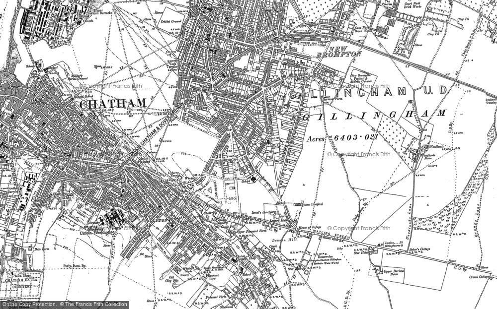 Map of Gillingham, 1896