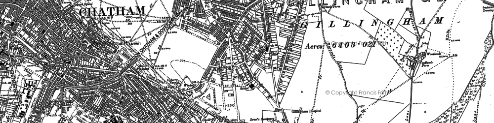 Old map of Gillingham in 1896