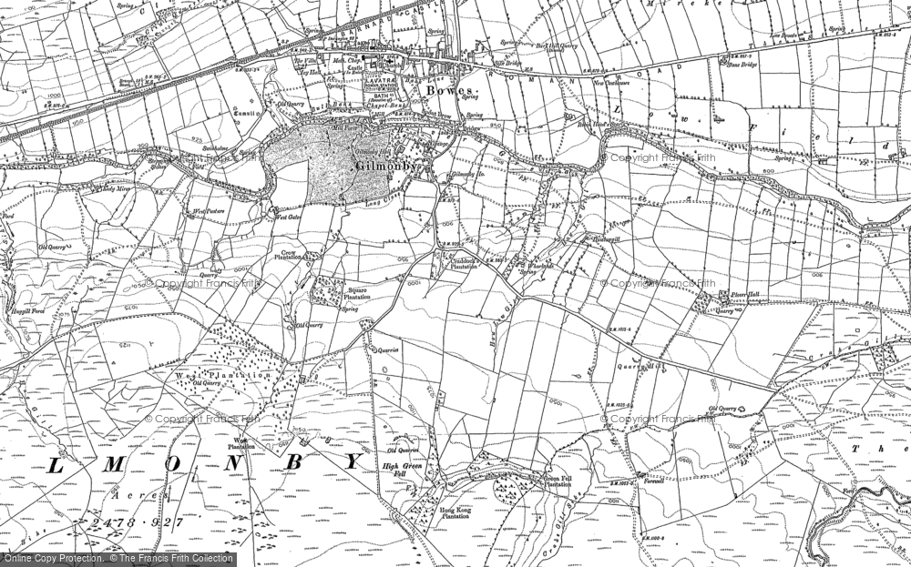 Old Map of Historic Map covering Lavatris (Roman Fort) in 1891