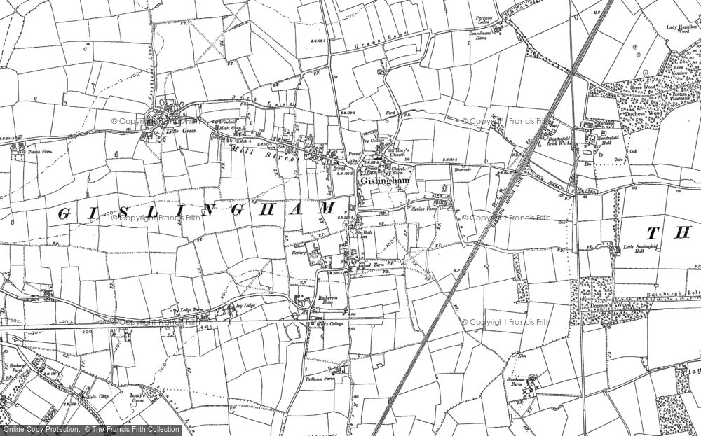 Old Map of Historic Map covering Allwood Green in 1884