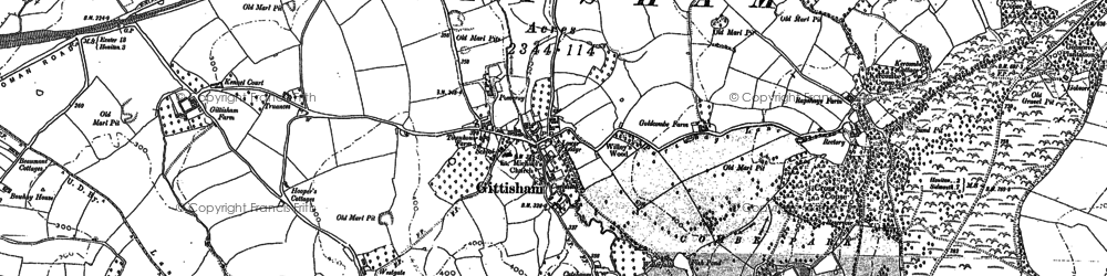 Old map of Gittisham in 1887