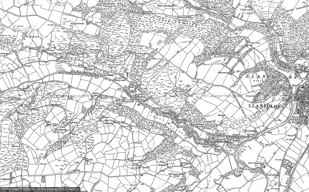 Old Map of Historic Map covering Afon Brochan in 1885