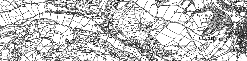 Old map of Afon Brochan in 1885