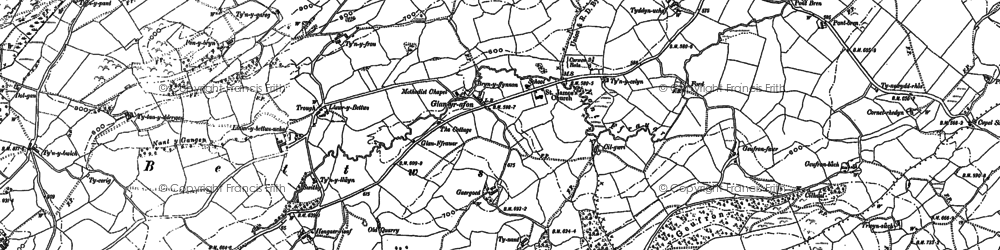 Old map of Betws in 1886