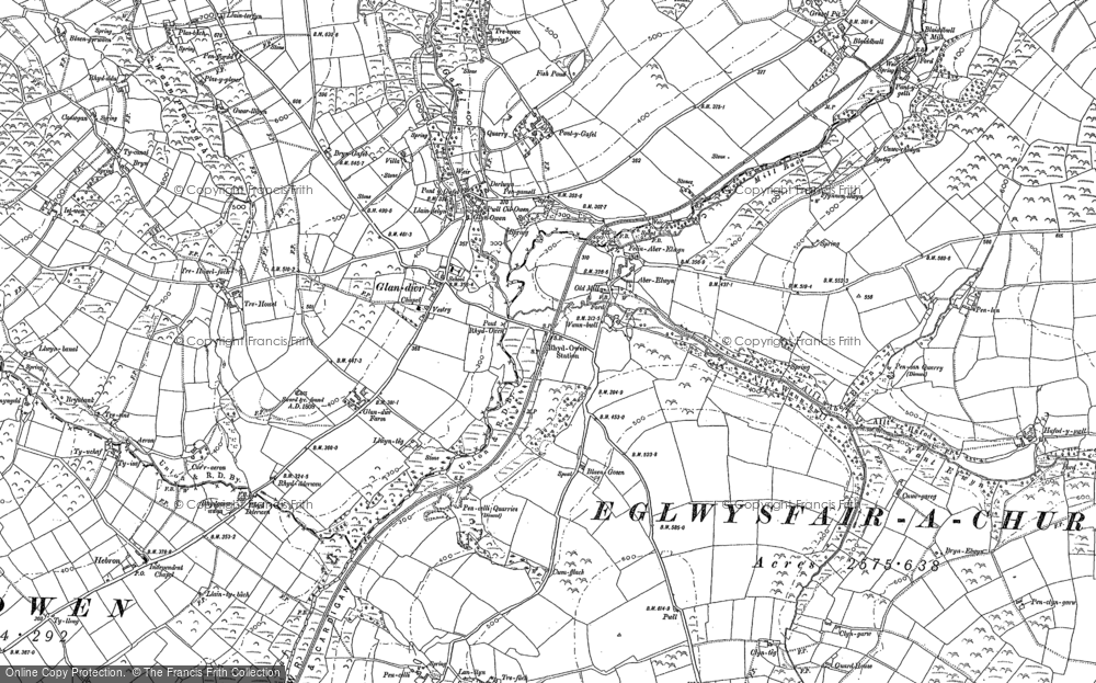 Old Map of Historic Map covering Aberelwyn in 1888
