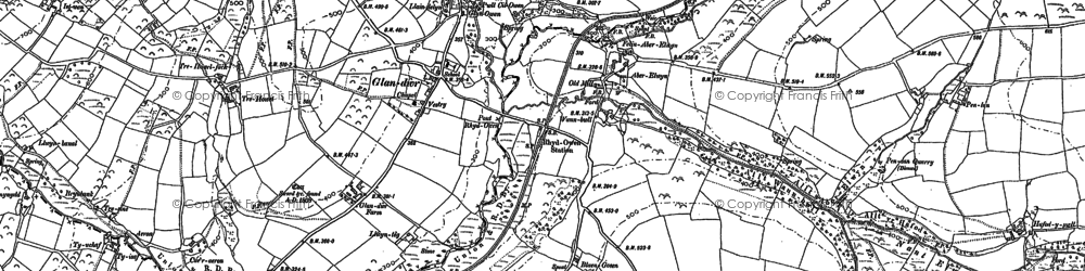 Old map of Aberelwyn in 1888