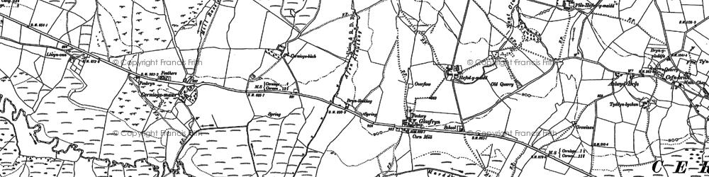 Old map of Afon Llaethog in 1899