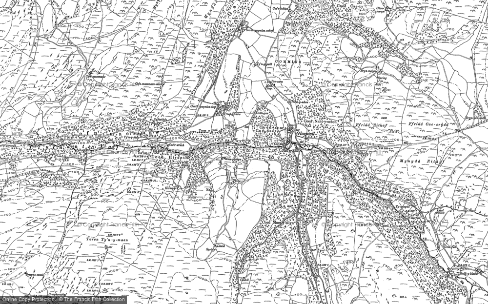 Old Map of Historic Map covering Llyfnant Valley in 1900