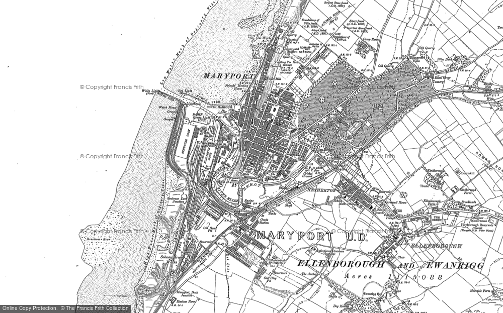 Old Map of Historic Map covering Alavna Roman Fort in 1923