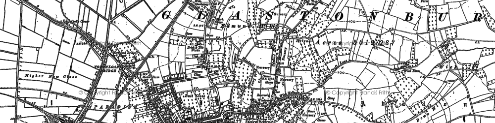 Old map of Glastonbury in 1884