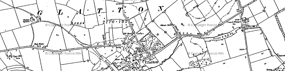 Old map of Glatton in 1887