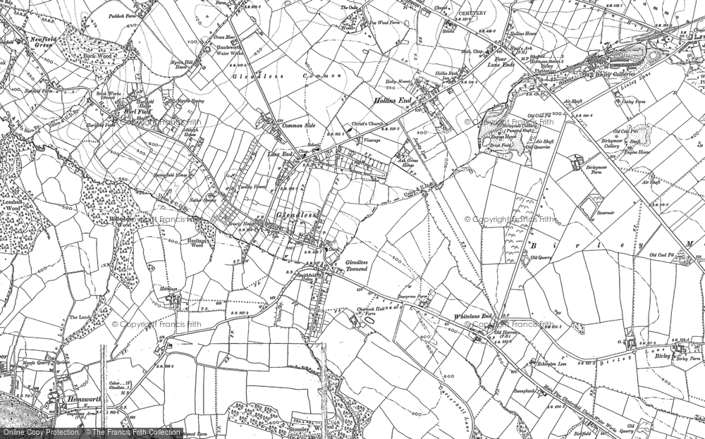 Old Map of Historic Map covering Arbourthorne in 1890