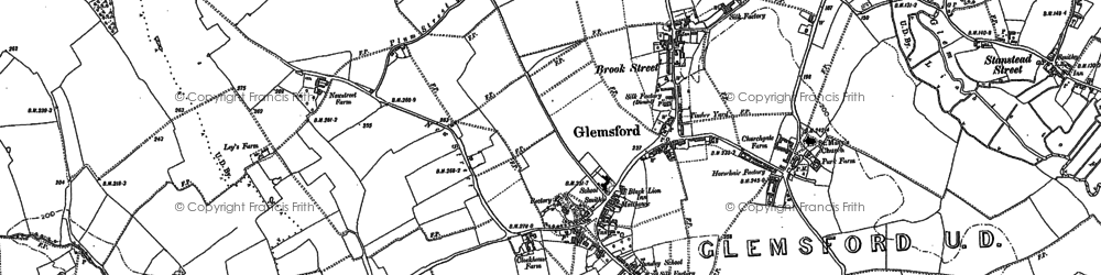 Old map of Glemsford in 1884