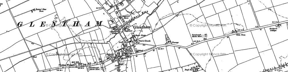 Old map of Glentham in 1885