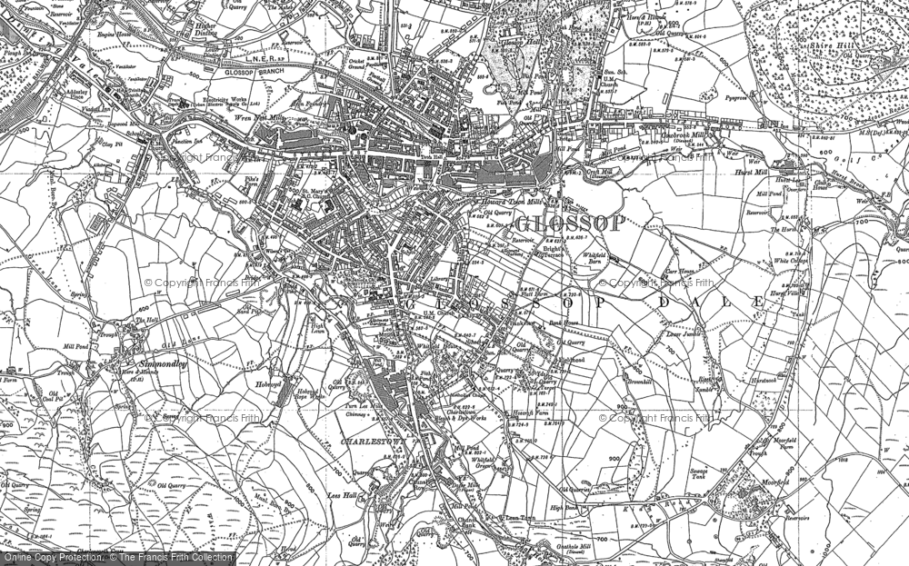 Old Map of Historic Map covering Whiteley Nab in 1897