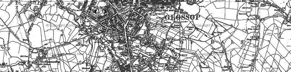 Old map of Glossop in 1897